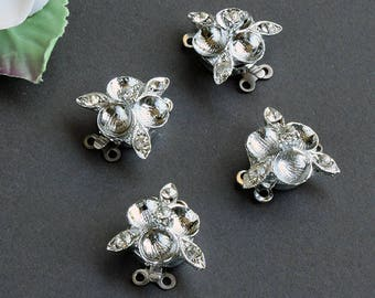 Vintage Miriam Haskell  Little Flower Rhinestone Clasp, Two to Two Strand (1)