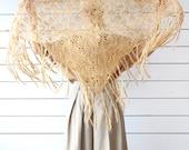 Vintage peanut brown beige wool crochet triangle shawl wrap scarf