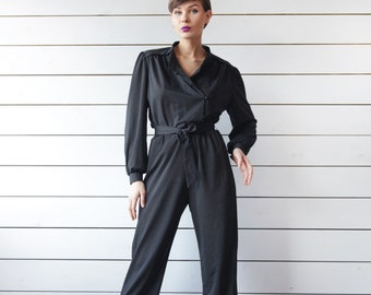 80s vintage black grey vertical striped tapered leg one piece overall jumpsuit M