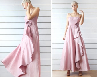 76d751a64f Vintage dusty rose pink fitted bustier top full maxi skirt romantic  princess evening dress ball gown S