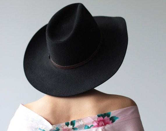 Australian vintage unisex black wool felt wide bri