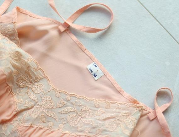 Vintage pink lace trim underwear chemise night go… - image 7