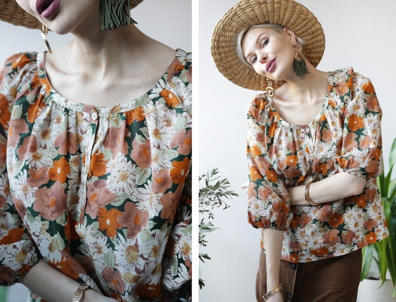 Vintage orange white floral print elbow length balloon sleeve blouse top M L