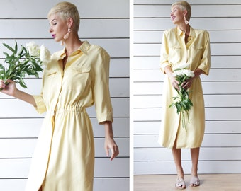 Vintage pale yellow raw silk elbow sleeve button up shirt style midi dress L
