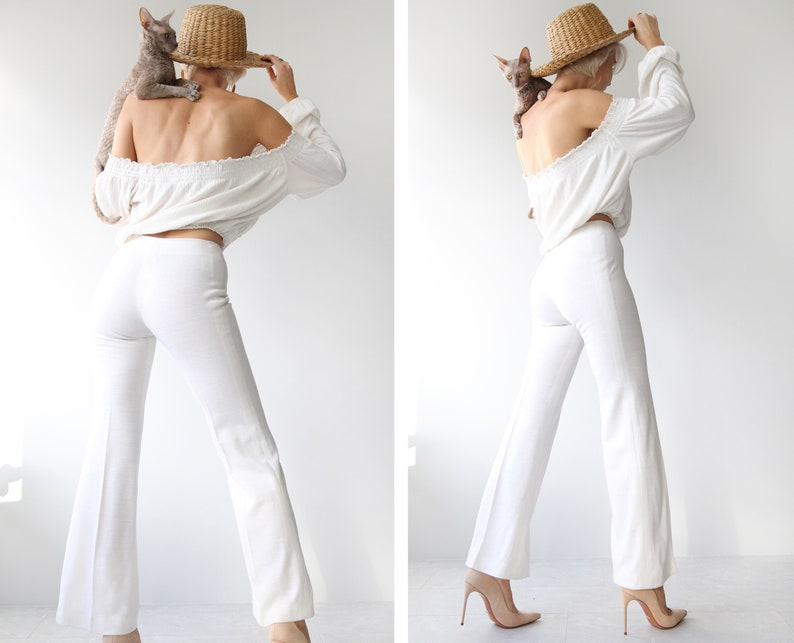 70s Vintage white bell bottom high waist flares pants XS