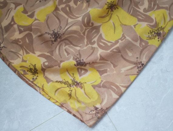 Soviet vintage brown yellow floral print nylon un… - image 5