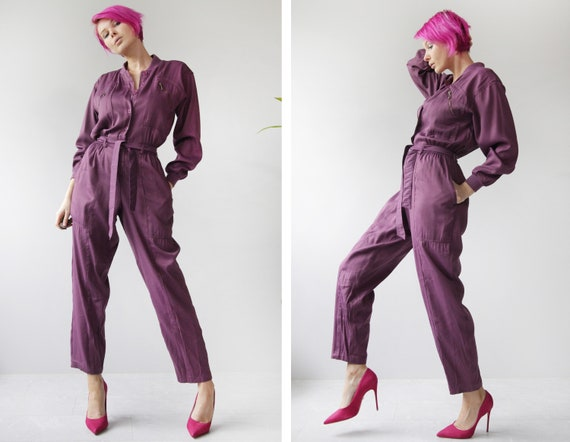 70s vintage purple long sleeve belted workwear ove