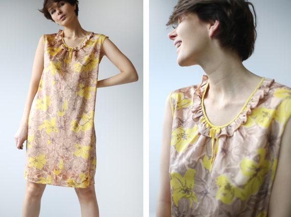 Soviet vintage brown yellow floral print nylon un… - image 1