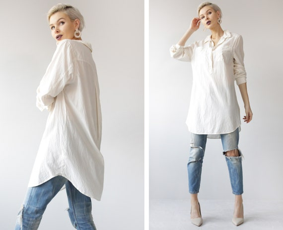 Vintage soft white silk long sleeve button up long