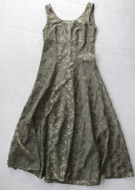 Vintage sheer green lace full skirt sleeveless ma… - image 5