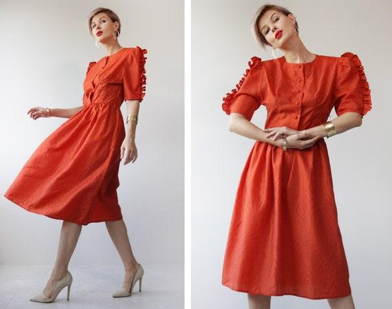 Vintage red extra full ruffle shoulder midi dress