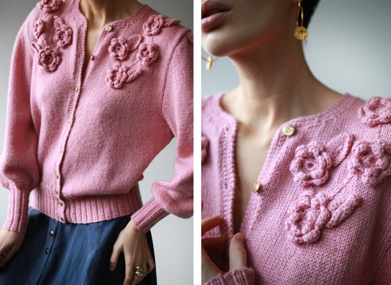 Vintage pink wool knit flower button up cardigan s