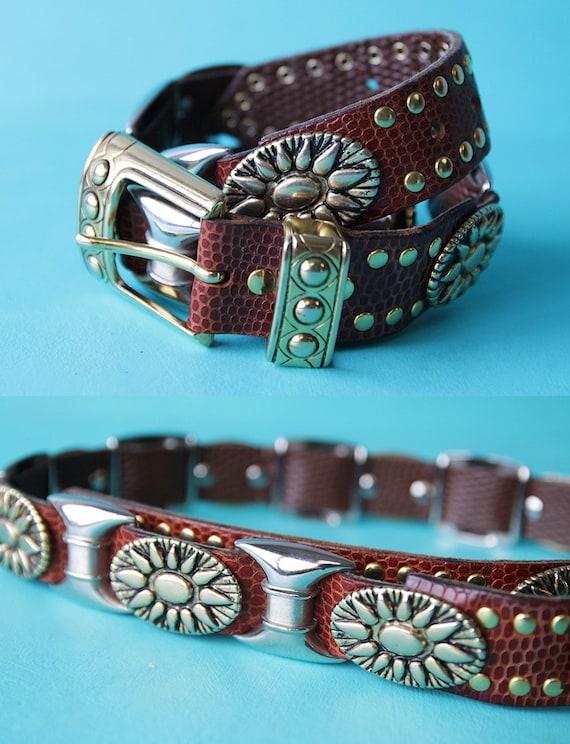 NANNI italien marron ceinture vintage en cuir détails en métal   Etsy 5f885dc190c