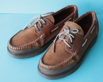 LACOSTE French vintage thick brown leather moccasin loafer boat shoes Size 7 / 9