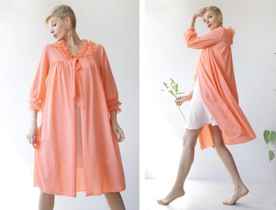 Vintage peach orange pink ruffle trim knee length