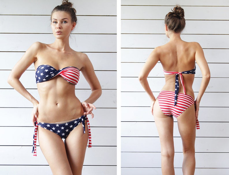261d4b2203b10 Vintage 90s blue red white stars and stripes US flag strapless two piece bikini  swimsuit S M