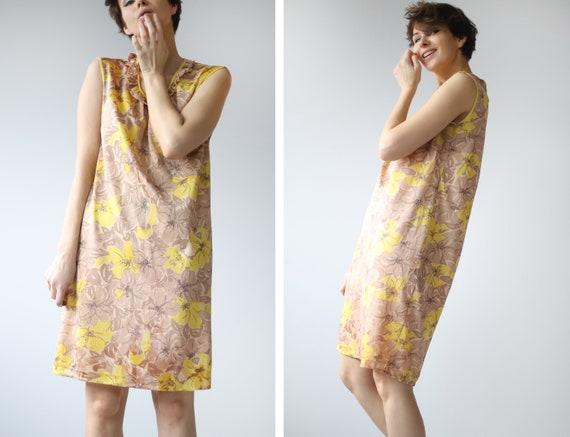 Soviet vintage brown yellow floral print nylon un… - image 2