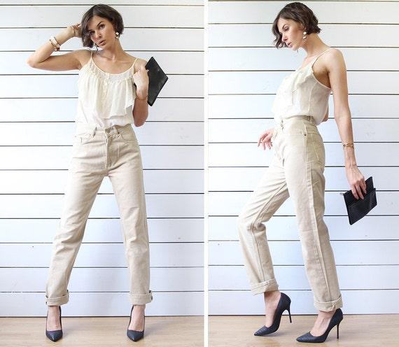 LEVI'S 501 vintage beige cotton denim skinny fit s