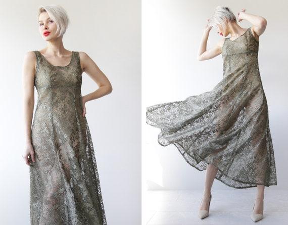 Vintage sheer green lace full skirt sleeveless ma… - image 2