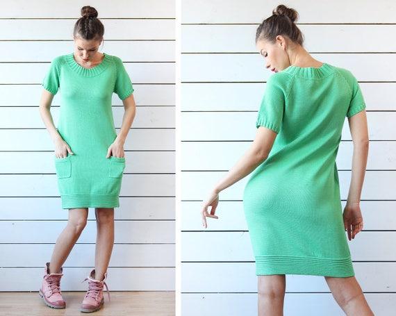 MARIMEKKO vintage salad green cotton knit knee len