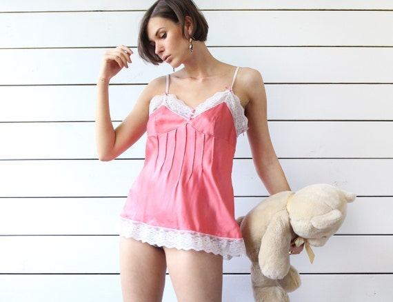 GUESS vintage salmon pink silk lace trim sexy baby