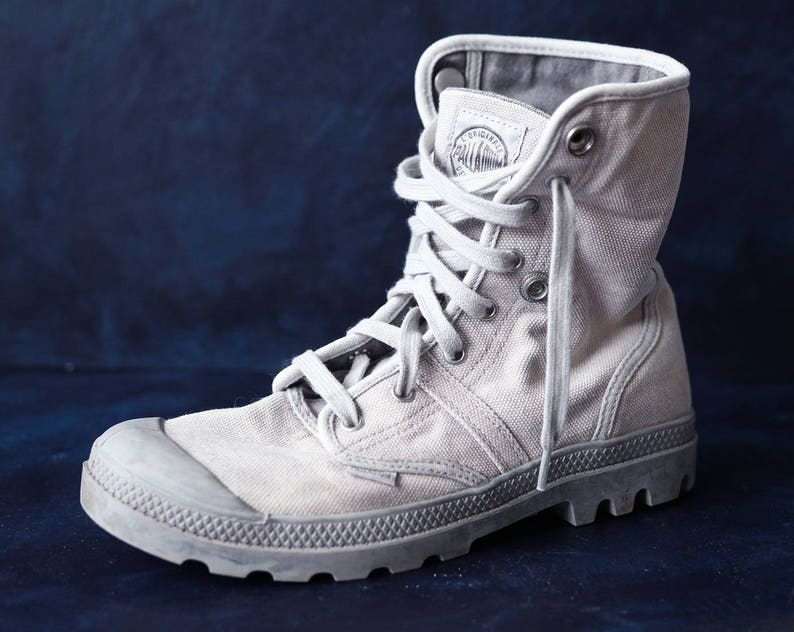 0e37b9ab8bf PALLADIUM vintage grey canvas women men army style hiking combat ankle  booties boots Size 41 9
