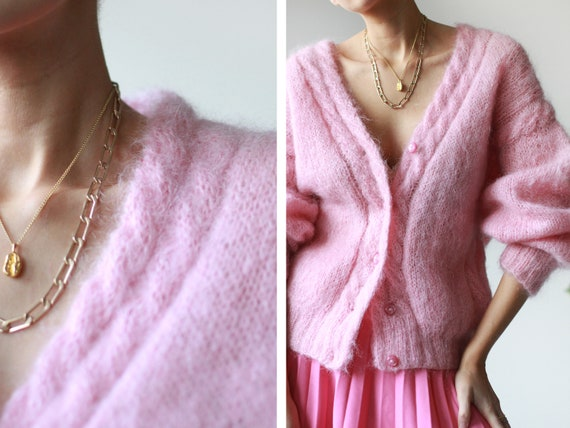 Vintage pink wool knit slouchy long sleeve button