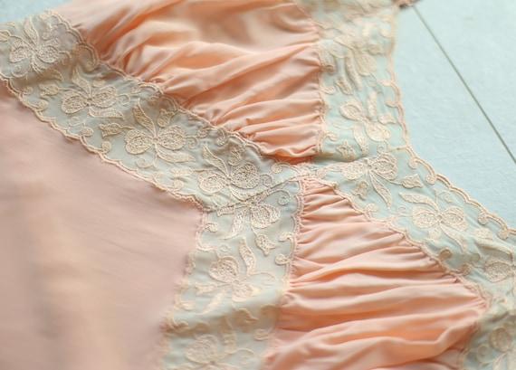 Vintage pink lace trim underwear chemise night go… - image 5