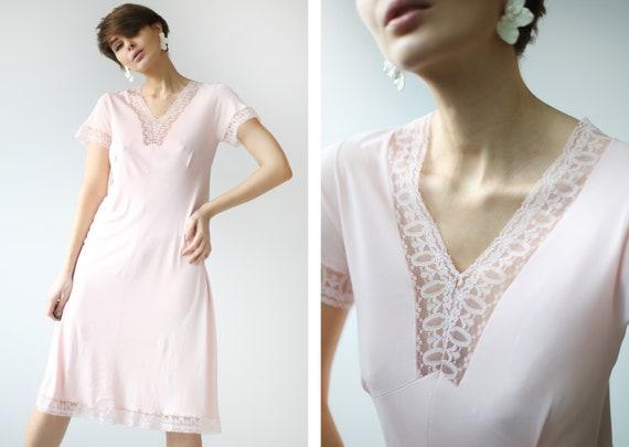 Soviet vintage pink nylon lace trim night dressing