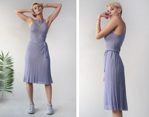 Vintage blue semi sheer crochet lace sleeveless su
