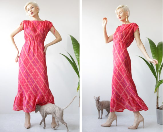 Vintage pink red micro pleated ankle length dancin