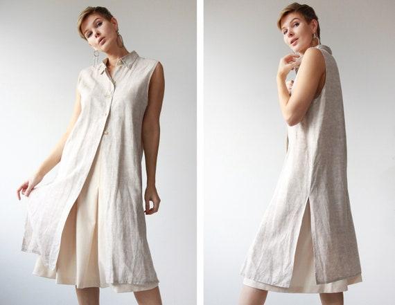 French vintage beige linen blend sleeveless tunic