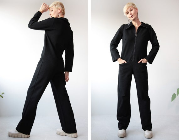 Vintage black simple long sleeve front zip overall