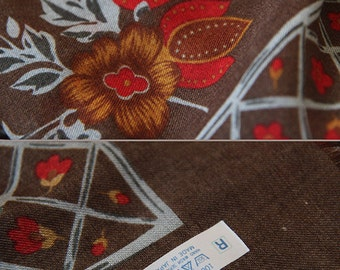Large brown red floral square scarf shawl