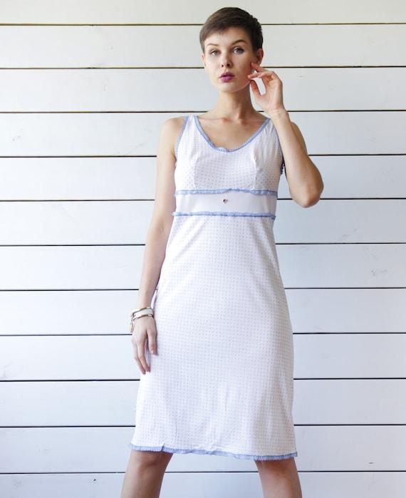 Vintage white blue tiny polka dot print nylon unde