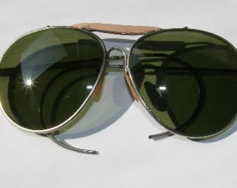 0d251a3e10b 1970s Silver Wire Frame Aviator Sunglasses Eyeglasses Eyeglass Frames Cable  Temples Pink Brow Bar