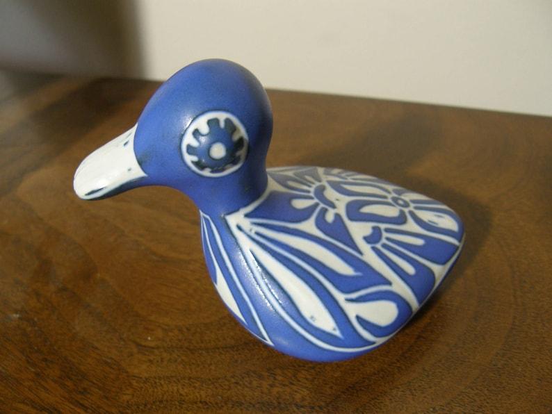 Pablo Zabal Chile Duck Loon Ceramic Pottery Sculpture 1980s Blue Zoo Ceramic Sgrafito Matte Bright Blue