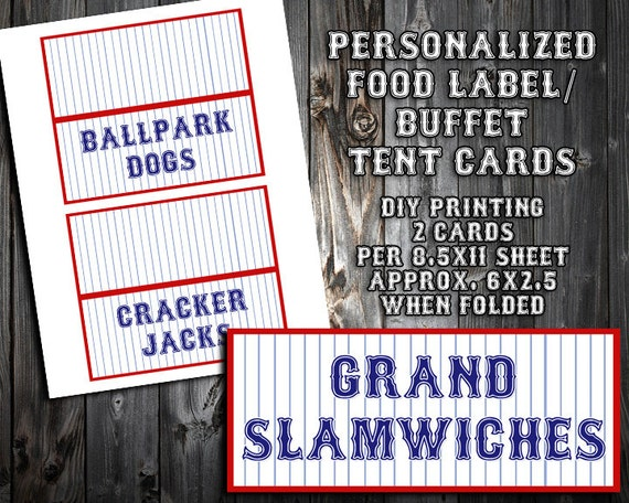 Personalized Baseball Themed Birthday Party Food Label