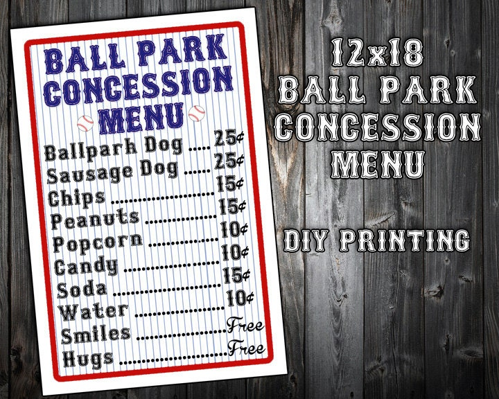 picture about Concession Stand Signs Printable identify Quick Down load - Baseball Themed Birthday Get together Menu - Concession Stand - Bash Printable Signal - Do-it-yourself Printing