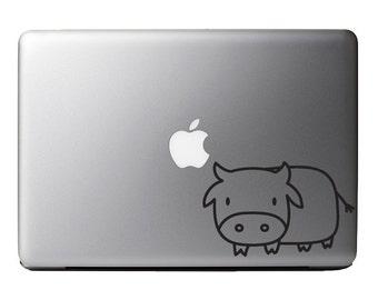 Cartoon Heifer Milk Cow - Macbook Vinyl Decal Apple Laptop iPad
