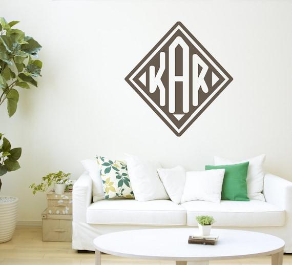 Vinyl Name Vinyl Art Wall Decal Nursery Monogram Custom Name /& Monogram with Wreath Personalized Bedroom Name Vinyl Sticker 22.5x23