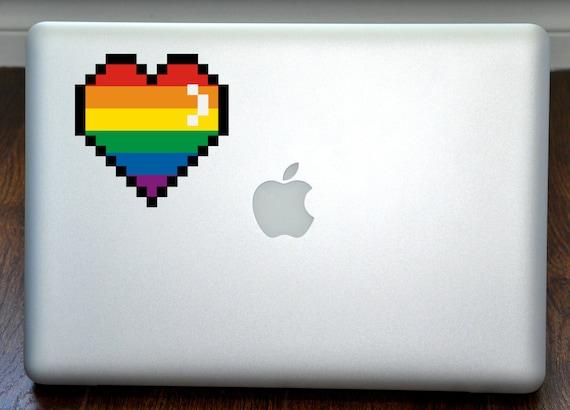 Pixel Arc En Ciel 8 Bit Coeur Art Couleur Vinyle Autocollant Sticker Mac Apple Ordinateur Portable Macbook Ipad