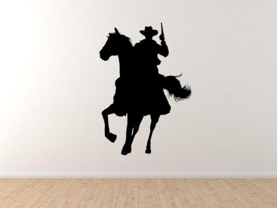 Cowboy Silhouette 5 Gunslinger Horseback Shootout Wall Etsy