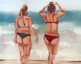 Beach Babes Two, Original Oil Painting by Bridget Hobson, 6x6 inch, free domestic shipping