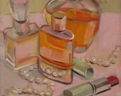 Girl Talk, Perfume Bottles, Pearls, Lipstick, Original Oil Painting, free domestic shipping