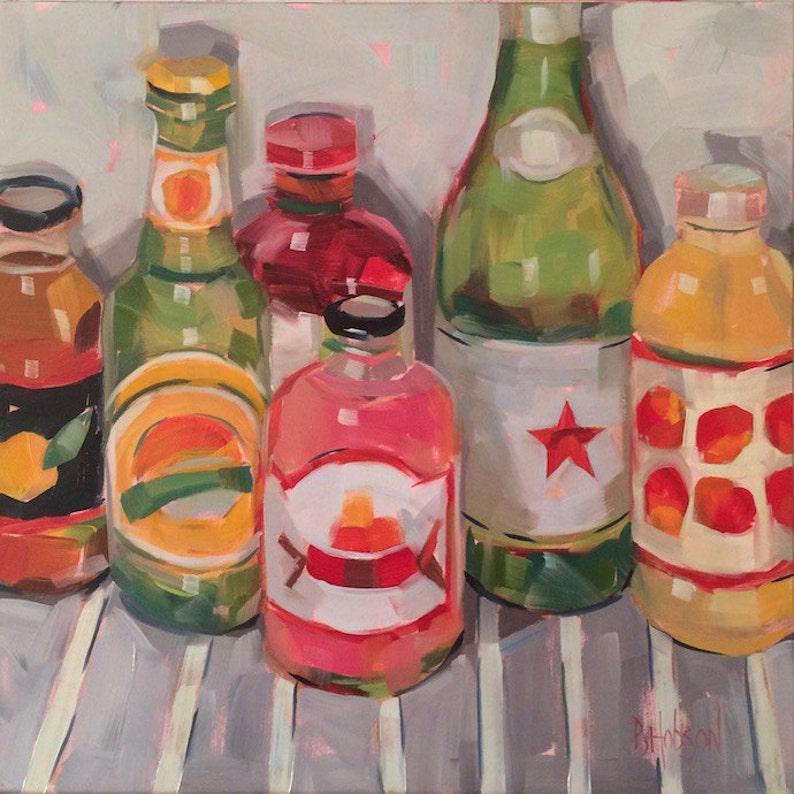 Soda Juice Water Bottles Original Oil Painting 10 x 10 image 0