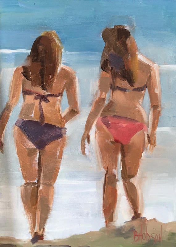Beach Babes Original Oil Painting  Inches Free Domestic Shipping