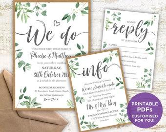 PRINTABLE Leafy Wedding Invitation PDFs, Custom Designed, digital, print your own, greenery, foliage, green, white, rustic, Wishing well