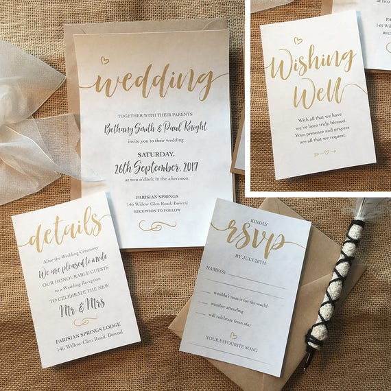 Printed Elegant Wedding Invitation Set Custom Designed Etsy