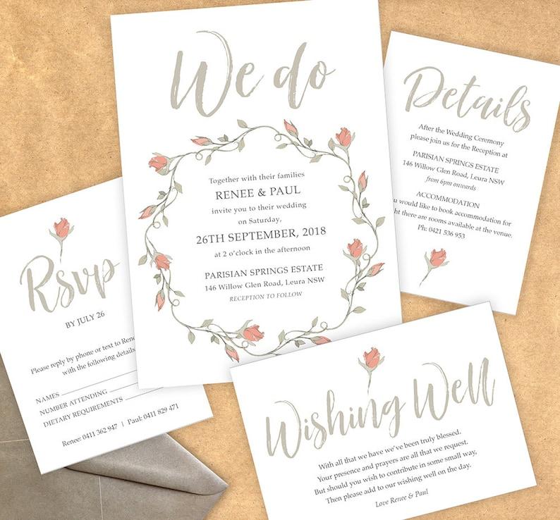 digital pale pink Print Ready PDFs PRINTABLE Boho Rose Wedding Invitation PDFs floral Customised Design greenery fairytale grey